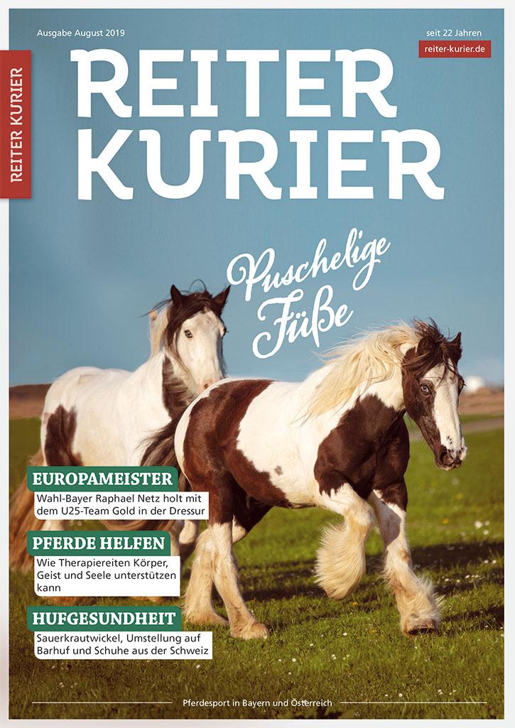 Titelseite der Ausgabe August 2019 des Reiter-Kurier mit den Themen Hufgesundheit etc.